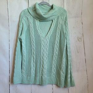 NY & CO mint green key hole funnel neck sweater
